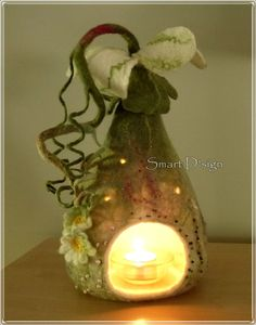 Fairy Flower Felt Lamp table light fairytale candle lantern Waldorf Steiner School. $175.00, by Antje, Smart Design, via Etsy.