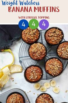 These Banana Muffins with their deliciously sweet crunchy streusel topping are just 4 Smart Points per serving on Weight Watchers Blue, Green, Purple & Freestyle plans. Weight Watcher Cookies, Weight Watchers Breakfast, Weight Watchers Desserts, All Recipes Banana Bread, Healthy Banana Muffins, Ww Desserts, Sweet Desserts, Dessert Recipes, Easy Homemade Recipes