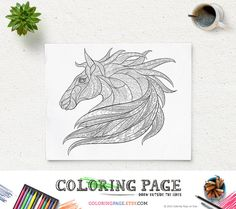 Printable Animal Coloring Pages Horse Pattern Coloring Page Adult Coloring Book AntiStress Coloring Art Therapy Instant Download Coloring  Printable
