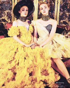 Dakota And Elle Fanning In Alexander McQueen