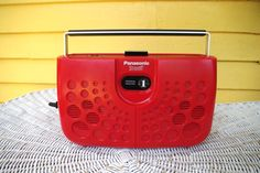 Vintage Red 1970s Panasonic Swiss Cheese Portable 8 Track Player Model # RS-833S with Original Box and Instructions by retrowarehouse on Etsy