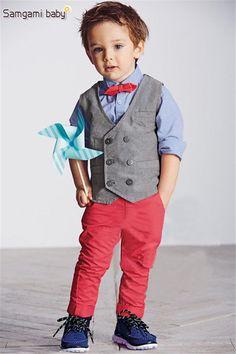 Para mi hijo Niños Guapos set Traje Caballero del Muchacho Set Kids Clothes Set de manga Larga Camisetas, chaleco y Pantalones❤️