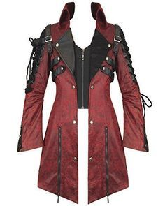 Steampunk - Punk Rave Poison Jacket Mens Red Black Faux Leather Goth  Steampunk Military Coat Steampunk cce16b409d5e9