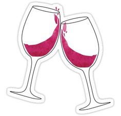 """""""Clinking Wine Glasses"""" Stickers by libberdoodle Wine Glass Drawing, Bullet Journal Cover Ideas, Dorm Art, Beer Pong Tables, Alcohol Humor, Painted Wine Glasses, Aesthetic Stickers, Transparent Stickers, Cute Stickers"""