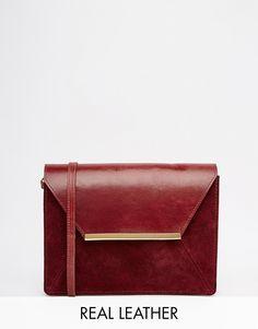 ASOS - Borsa a tracolla in pelle stile vintage con barra in metallo