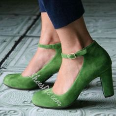 Shoespie - Shoespie Shoespie Grannie Chic Retro Greenery Chunky Heel Pumps - AdoreWe.com