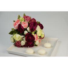 Amazon.de: Künstlicher Ranunkelstrauch mit 18 Blüten, pink-rosa-weiß, 30cm, Ø 25cm - Deko Strauß