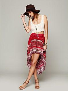 Border Print Highlow Slip Skirt