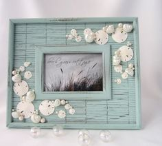 Beach Decor Seashell Frame - Nautical 4x6 Frame in Aqua w Bamboo, Shells, Starfish