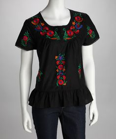 Take a look at this Black & Red Blossom Embroidered Top by Love Your Look: Women's Apparel on #zulily today!