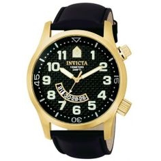 Invicta Men's 0449 II Collection Black Leather Watch Invicta. $99.99. Precise Swiss-Quartz movement. Black carbon fiber dial with luminous yellow gold-tone hands; Luminous arabic numerals; Rotating inner bezel function. Water-resistant to 330 feet (100 M). Durable flame-fusion crystal; 18k yellow gold Ion-Plated stainless steel case; Black leather strap. Date function