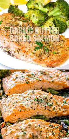 GARLIC BUTTER BAKED SALMON! Tender and juicy salmon brushed with an incredible garlic butter sauce and baked on a sheet pan with your favorite veggies. This delicious baked salmon takes just a few minutes of prep and makes for a perfect weeknight meal in just 30 minutes. #salmon #bakedsalmon #garlic #butter #ketorecipes #broccoli #sheetpandinners #30minutemeal #easyrecipe #seafood via @diethood