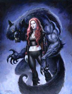 Under The Wolf Moon by sebastien-grenier @ DeviantArt Fantasy Wolf, Dark Fantasy Art, Fantasy Artwork, Fantasy Creatures, Mythical Creatures, Werewolf Art, Vampires And Werewolves, Creatures Of The Night, Horror Art