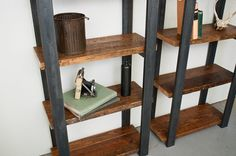 Bookshelves Salvaged Wood Shelves with Steel Frame by dylangrey, $870.00