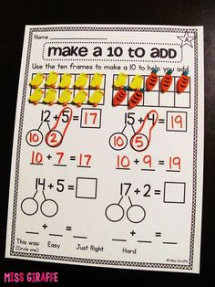 Making a 10 to Add - step by step directions for how to teach this in 1st grade!!