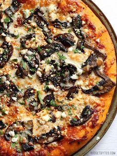 Ultimate Portobello Mushroom Pizza is a gourmet pie for a frozen pizza price - BudgetBytes.com