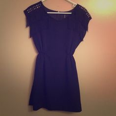 Double Zero Dress Gently used fits like an extra small cute little black dress fringes on the shoulders Dresses Mini