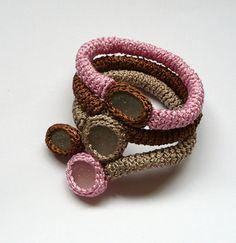 Crochet bracelet with sea glass.