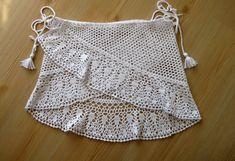 Crochet pareo white cover up crochet pareo women pareo Beach Crochet, Crochet Twist, Crochet Summer Tops, Crochet Baby, Crochet Skirt Pattern, Crochet Tunic, Crochet Clothes, Crochet Top, Crochet Monokini