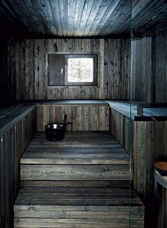 Tumma sauna on isännän mielestä paras osa kylpyhuonetta… Sauna Design, Home Gym Design, House Design, Design Design, Sauna House, Sauna Room, Rustic Saunas, Outdoor Sauna, Finnish Sauna