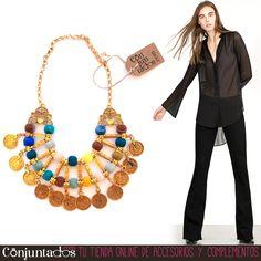 El collar dorado de monedas y pompones de colores es un accesorio boho-chic con el que todos y todas te mirarán. Alegre, vistoso y muy moderno ★ Precio: 19,95 € en http://www.conjuntados.com/es/collares/collar-dorado-de-monedas-y-pompones-de-colores.html ★ #novedades #collar #necklace #joyitas #jewelry #bijoux #accesorios #complementos #shopping #trendy #tendencias #tendances #moda #mode #estilo #style #boho #chic #étnico #GustosParaTodas #ParaTodosLosGustos #loveit