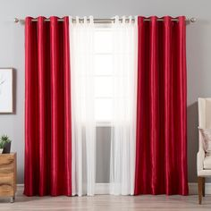 Best Home Fashion 84 in. L uMIXm Tulle and Red Faux Silk Blackout Curtain Tulle Overlay And Red Faux Silk Blackout Panel Red And White Curtains, Curtains For Grey Walls, Faux Silk Curtains, Modern Curtains, Window Curtains, Red Curtains Living Room, Living Room White, White Room Decor, Bedroom Red