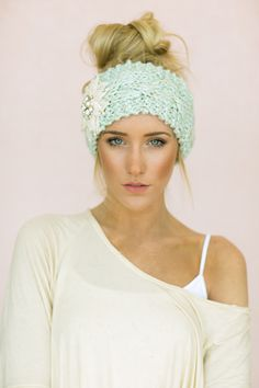 mint embellished knitted headband