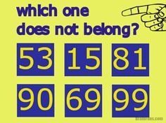 Brain teaser - Number And Math Puzzle - which number does not belong? - which number does not belong? One number is different from others. Find the solution for this math puzzle. Mind Games Puzzles, Maths Puzzles, Math Games, Math Activities, Brain Games, Brain Teasers With Answers, Brain Teasers For Kids, Logic Math, Math Math
