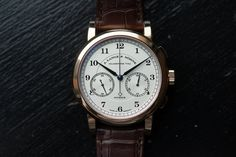 The current Lange 1815 Chronograph is available in both rose and white gold.