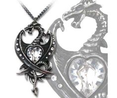 Diamond Heart Dragon Necklace (P609) Alchemy Gothic