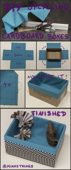 DIY Tutorial How To Upcycling Cardboard Boxes With Washi Tape Fabric Decorative Storage Organizer