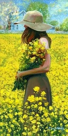 What is the name of the beautiful woman walking through the field of flowers? Iryna - American Oil Painter Daryl Urig is a member of The Portrait Society of America, Oil Painters of America and Cincinnati Art Club. Garden Painting, Garden Art, Garden Drawing, Garden Ideas, Dream Garden, Painting Art, Oil Painters, Fine Art, Mellow Yellow