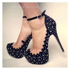 Sexy Black Suede Chic Lace & Rivets Decoration Ankle Strap High Heel Shoes