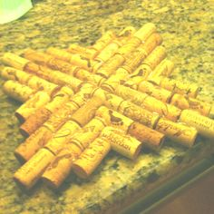 Wine cork trivet. Made this from wine corks and hot glue! Very easy!