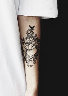 First Peony tattoo on arm by Chun Hack, Saigon. #blacktattoo #peonytattoo #flowertattoo