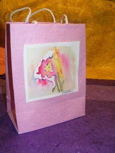 Handmade Paper Gift Bag  Pink Peony by TheGiftoftheGAB on Etsy, $5.00