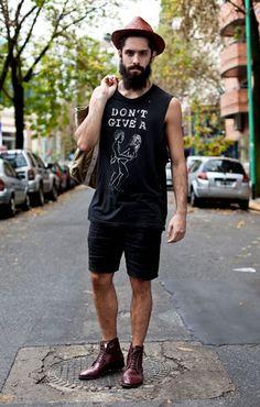 Summer menswear inspiration hat shirt short fashion men tumblr Style streetstyle beard hair bag