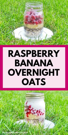 Raspberry chia overnight oats with with chia seeds and with coconut milk. oatmeal with fruit. easy healthy breakfast ideas and clean eating healthy food and snacks Dairy Free Overnight Oats, Raspberry Overnight Oats, Banana Overnight Oats, Overnight Oats Recipe Without Chia Seeds, Overnight Oats Coconut Milk, Overnite Oats, Clean Eating Oatmeal, Clean Eating Breakfast, Breakfast Ideas