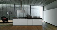 Artematica Aluminium and Glass Kitchen Doors - Valcucine - Rogerseller love the flat range hood.but how easy is it to keep the glass clean Clean Kitchen Cabinets, Kitchen Doors, Glass Kitchen, White Laminate, Wood Laminate, Cocinas Kitchen, Aluminium Doors, Stainless Steel Kitchen, Double Vanity