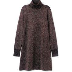 Sparkle Knit Dress ❤ liked on Polyvore featuring dresses, long sleeve turtleneck dress, loose dresses, knit dress, long sleeve turtleneck top and sparkly dresses