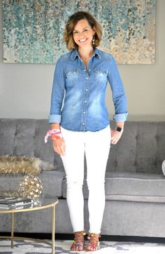 Chambray shirt, white jeans and pom pom sandals for spring! Stay at home mom outfits. SAHMonday: Chambray, White Jeans and Colorful Sandals http://getyourprettyon.com/sahmonday-chambray-white-jeans-colorful-sandals/?utm_campaign=coschedule&utm_source=pinterest&utm_medium=Alison%20Lumbatis%20%7C%20Get%20Your%20Pretty%20On&utm_content=SAHMonday%3A%20%20Chambray%2C%20White%20Jeans%20and%20Colorful%20Sandals