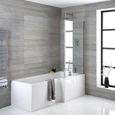 Bathroom Shop, Big Bathrooms, White Bathroom, Bad Inspiration, Bathroom Inspiration, Bathroom Ideas, L Shaped Bath, Small Bathroom Layout, Modern Bathtub