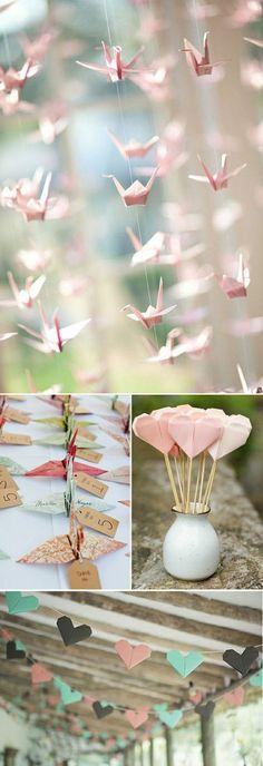 figures en papier rose, décoration mariage pas cher en papier rose origami idee diy