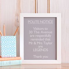 Tongue In Cheek Legend Print From Not On The High Street Personalised Wedding GiftsNovelty