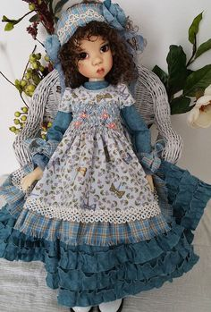 Smocked Blue Dragonfly Outfit for MSD Kaye Wiggs Dollstown 13 by pixxells