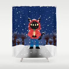 Winter Shower Curtain by BATKEI #society6 #cat #showercurtain #bathroom