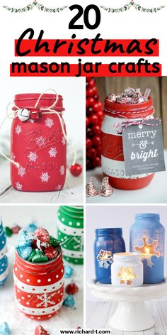 20 Magical Christmas mason jars that you can yourself this holiday! These Christmas mason jars are perfect for home decor, or even gifts! Mason Jar Gifts, Mason Jar Candles, Mason Jar Diy, Mason Jar Christmas Crafts, Jar Crafts, Holiday Crafts, Magical Christmas, Christmas Diy, Christmas Store