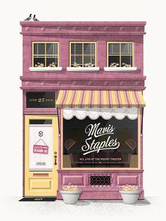 2012 Mavis Staples - Austin Silkscreen Concert Poster by DKNG Building Illustration, Art Et Illustration, Staples Posters, Mavis Staples, Bg Design, Shop Fronts, Environment Design, Concert Posters, Gig Poster