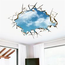 Brand 2017 3D Blue Sky white cloud scenery Window background wall stickers bedroom living room wall decor wallpaper DIY Poster(China (Mainland))