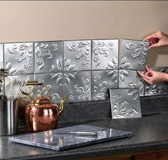 Set Of 14 Self Adhesive Silver Tin Floral Kitchen Wall Backsplash Square Tiles $16.00